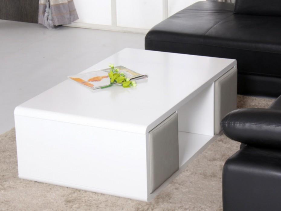 Table basse blanc laqué avec pouf
