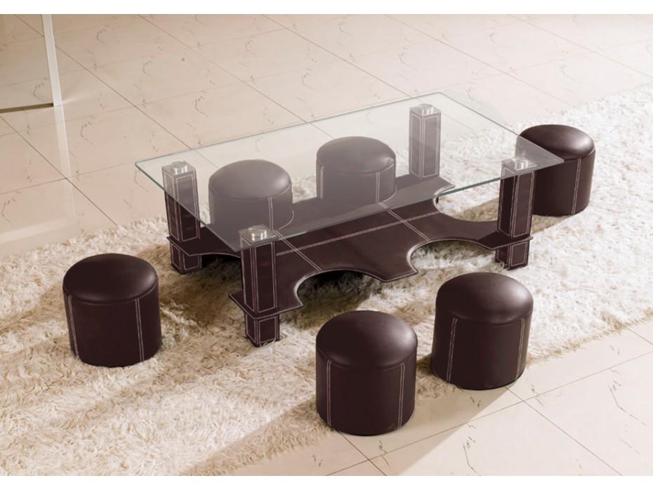 Table basse verre avec 6 pouf