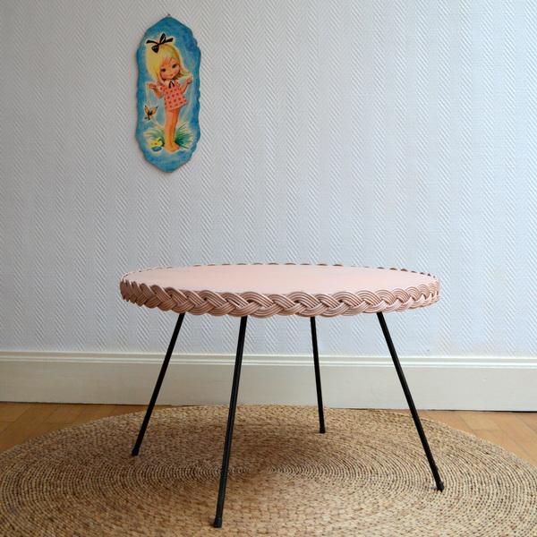 Table basse vintage rotin