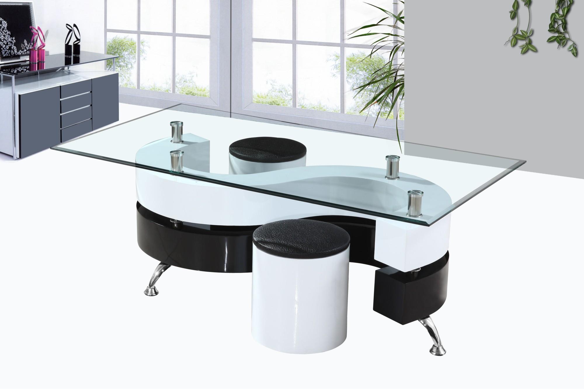 Table basse moderne avec pouf
