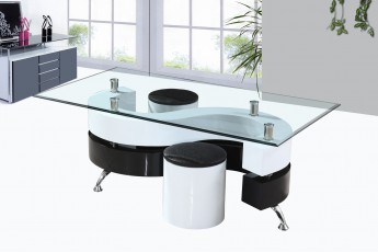 Table basse ronde blanche avec pouf