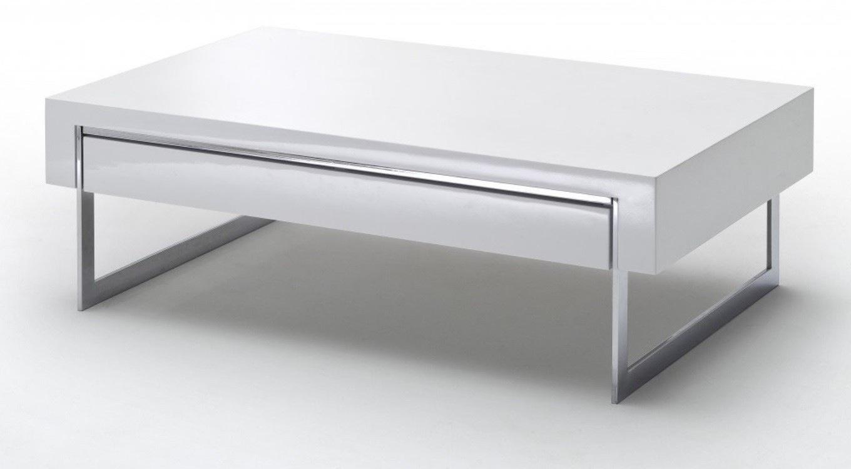 Table Basse Blanc Laqué Avec Rangement Maison Et Meuble De Maison