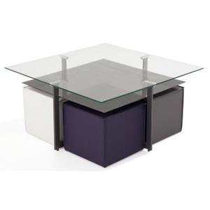 Table basse en verre avec pouf dimension