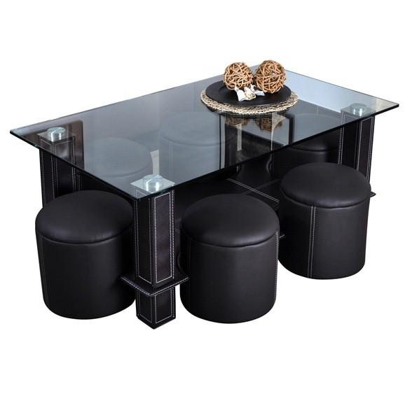 Table basse ronde avec pouf integre