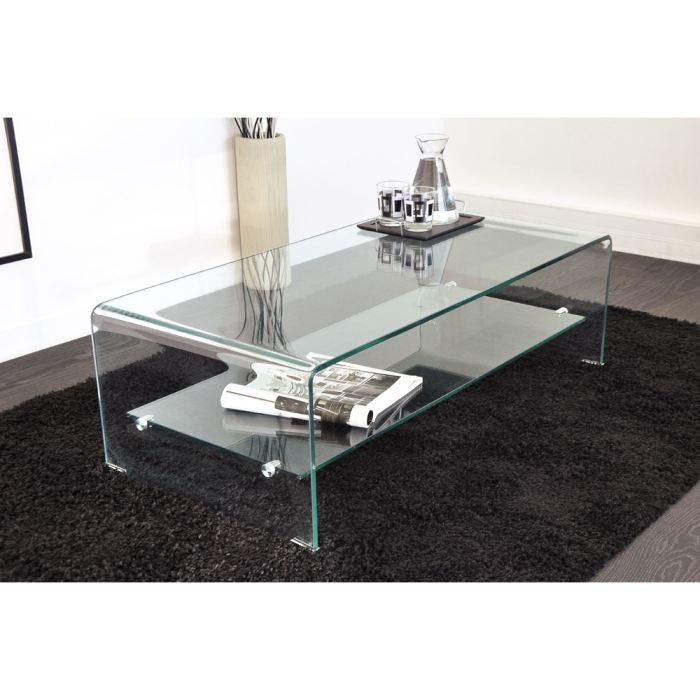 Table basse en verre courbé