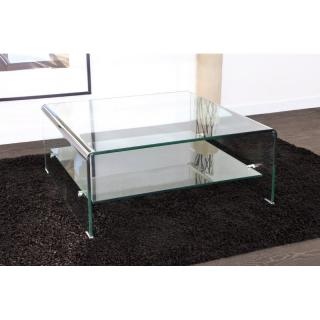 Table basse carrée en verre