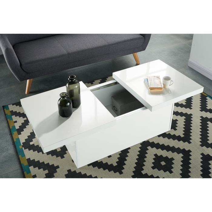 Alice table basse avec rangement 110 cm gris brillant