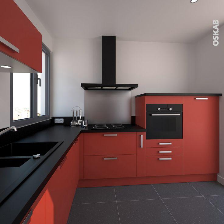 Armoire cuisine rouge maison et meuble de maison - Cuisine rouge plan de travail noir ...