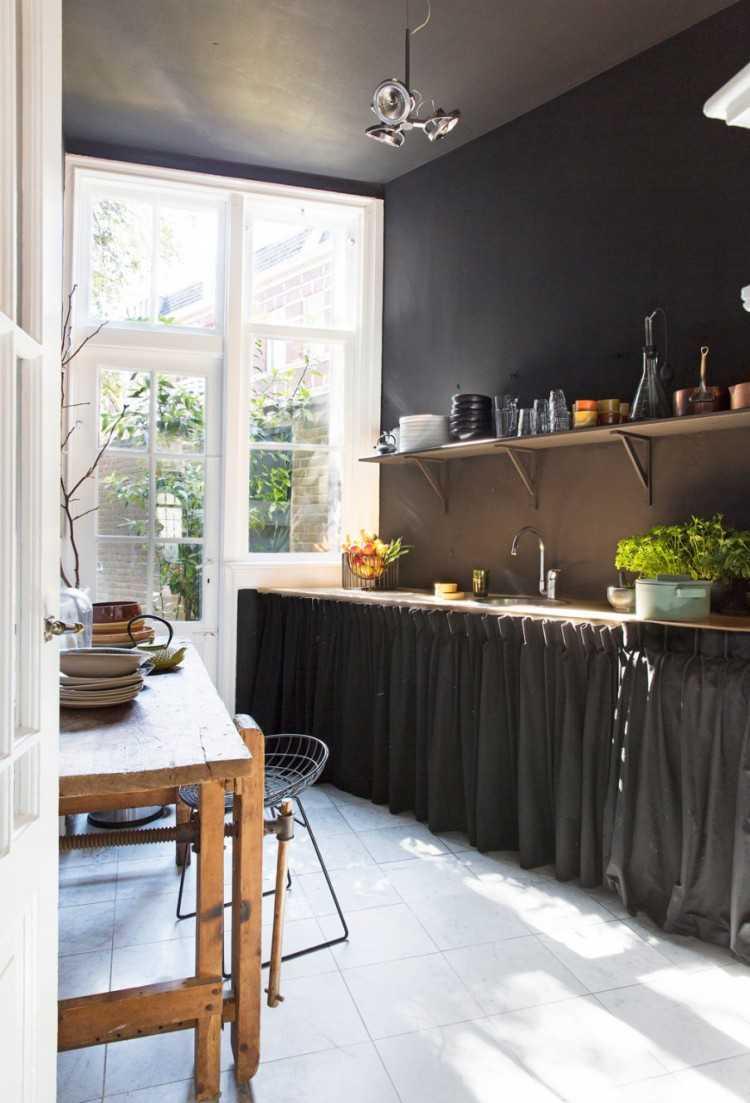 Meuble de cuisine avec rideau - Maison et meuble de maison