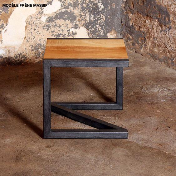 Tabouret design bois metal