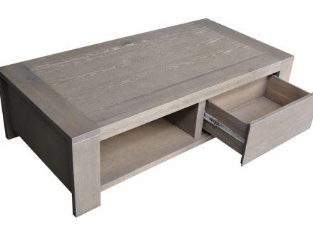 Table basse grise avec rangement