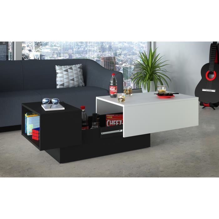 Table basse noir et blanc avec rangement