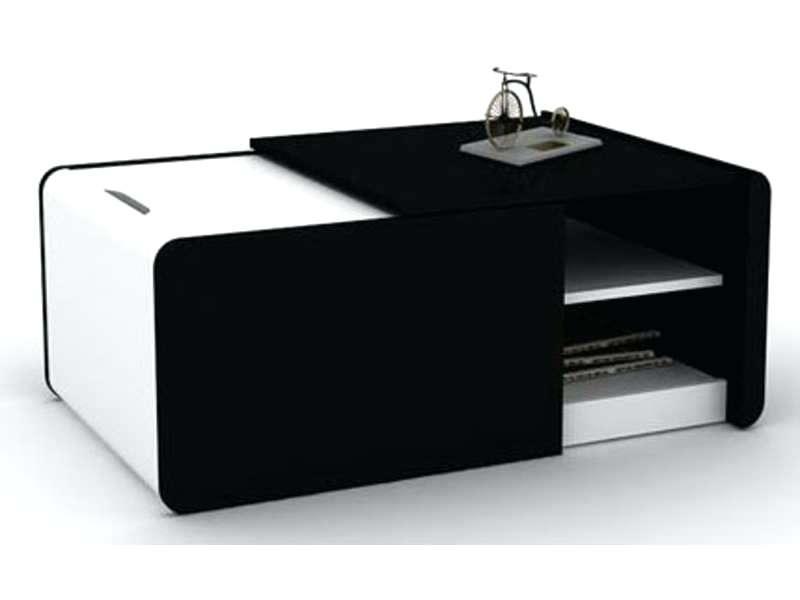 Table basse blanche avec rangement de bar intégré - Maison et meuble ...