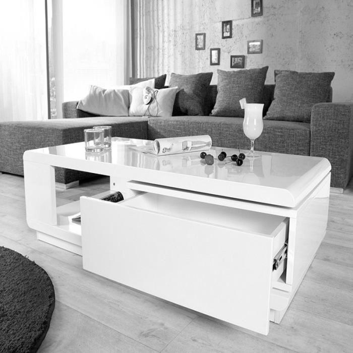 Table basse design réglable blanche avec rangement lola