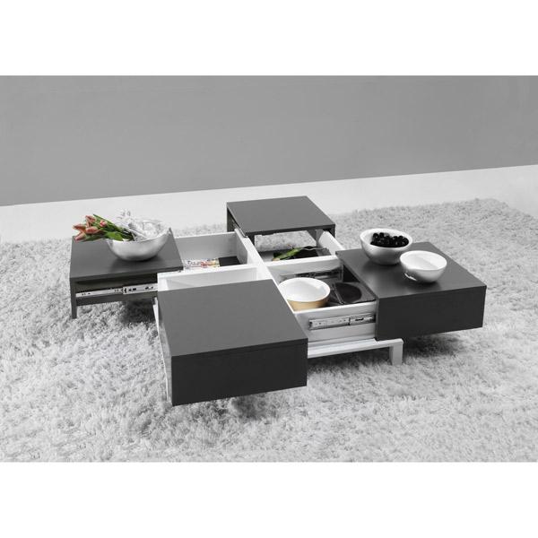 Table basse avec rangement verre