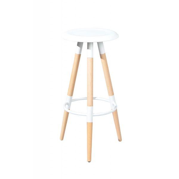 Tabouret de bar design blanc et bois