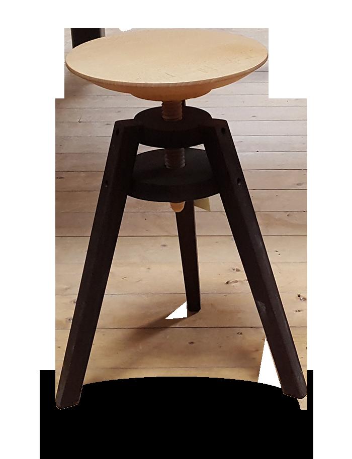 Tabouret à vis d'horloger en bois réglable hauteur