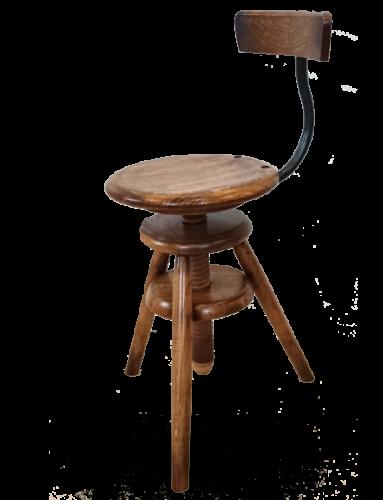 Tabouret à vis en bois